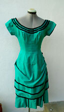 Vintage 1950s EXCLUSIVELY TAFFY'S OF CALIFORNIA Teal Green Party Dress 12