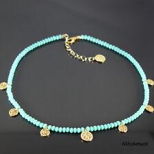 Damen türkis BICONE Glas Perlen Kette mit Gold Münzen 45cm Karabiner