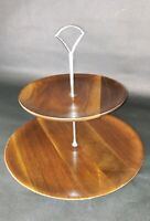 Vintage VERMILLION WALNUT Tiered Tidbit Tray  Mid Century 12x12""