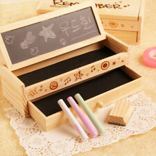 Wooden Pencil Case Box Holder/ Desktop Stationery Organizer Wood Decoupage Craft