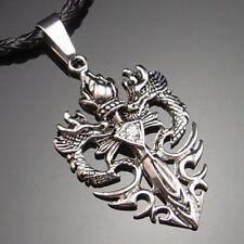 Wholesale 10 Sets of Mens Dragon CZ Sword Pewter Pendant Free Necklace PP#252