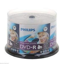 600 Philips Brand 16x White Inkjet Hub Printable DVD-R Disc with Cake Box
