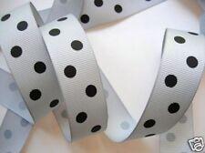 "5 yard Polka Dippy Dot Grosgrain 7/8"" Ribbon/23mm/Craft/Supply Grey/Black R43-V"