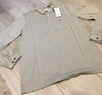 C.P. Company Long Sleeve Mako Cotton Jersey Polo Shirt in Light Olive Brand New