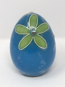 Large Ostrich Egg Shaped Candle Blue Bright Green Hippie Boho Shabby Chic