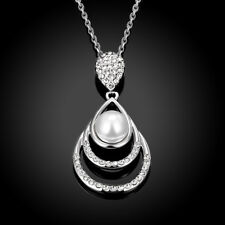 18k 18CT White Gold Filled GF Pearl Crystals Waterdrop Pendant Necklace N539
