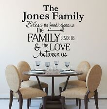 BLESS THE FOOD BEFORE US PERSONALIZED FAMILY NAME Kitchen Vinyl Wall Art Decal