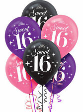 6 Sweet Sixteen 16 16th Birthday Party Pink Purple Black Printed Latex Balloons