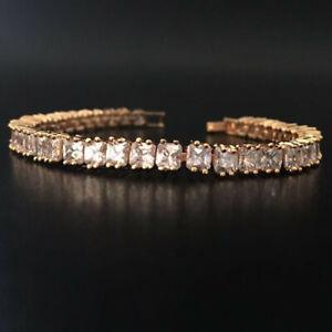 4mm Princess Cut Cubic Zirconia CZ Yellow Gold Filled Bride Tennis Bracelet Gift