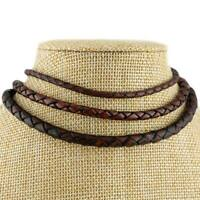 Burnt Cherry Braided Genuine Leather Cord Necklace 3, 4 or 5mm Thickness