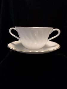 WEDGWOOD GOLD CHELSEA SOUP COUPE AND SAUCER EXCELLENT CONDITION no.1