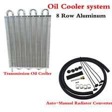 8 Row Aluminum Remote Transmission Oil Cooler Auto-Manual Radiator Converter
