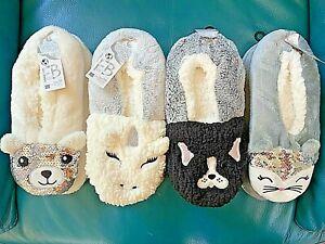 NWT Fuzzy Babba Women Slipper Socks Animal Faces Slip Resistant 7-9.5 OSFM