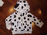 3 6 9 12 18 M BABY GAP Disney's 101 DALMATIONS Sherpa Hooded Spring Jacket NWT