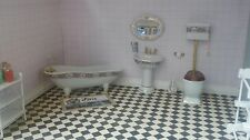Dolls House 1:12 Scale 4 Piece Ceramic Patterned High Level Bathroom DF1431