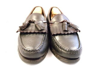 "Allen Edmonds Mens Shoes ""Nashua"" Tassel Loafers Black w/ Brown Trim 9 D (98k)"