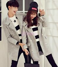 Womens Mens Double Breasted Autumn Winter Wool Blend Coats Mid Long Clothes 2017