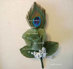 Peacock feather Rose Boutonniere~Corsage~your choice~Groom~Prom~Wedding