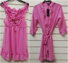 Ladies Sheer Chiffon Short Dressing Gown Robe & Baby Doll Set UK Sizes 12-20