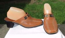 Tsonga Women's Brown  LEATHER Mules Clogs Heels ~ Sz. 9 M US