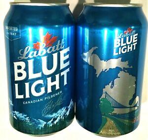 Labatt Blue Light Ambassador Bridge Detroit MI LtdE 12oz beer can empty Bot Open