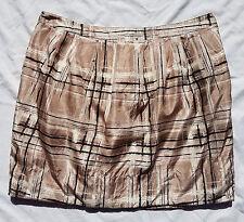 BNWOT Forever New Size 12 Skirt Mini Neutral Tan Print 100% Silk Chic Beige
