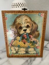 Vintage Puppy Painted Wood Wall Plaque Cocker Spaniel Dog Picture Big Eyes