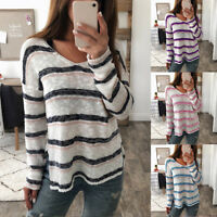 Women Long Sleeve Stripe V Neck Loose Knitted Sweater Ladies Casual Jumper Tops
