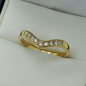 18ct Yellow Gold Brilliant Cut Diamond Set Wishbone Ring, Finger Size N
