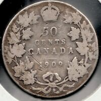 1909- Canada - 50 Cent Piece - Sterling Silver - King Edward VII - Superfleas