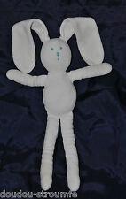 Peluche Doudou Lapin Blanc PETIT BATEAU Yeux Nez Bleu 30/48 Cm Hase Rabbit TTBE