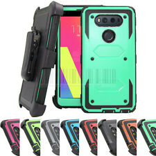 Hybrid Rugged Hard Armor Holster Case Shockproof Stand Rubber Cover For LG V20