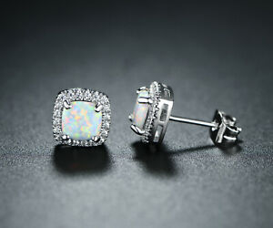 Sevil 18K White Gold Plated Created Fire Opal Square Stud Earrings With CZ