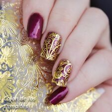 1Sheet 3D Nail Art Stickers Gold Embossed Flower Nail Decals Manicure DIY #BP052