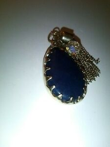 Vintage Navy Gemstone Pendant Chunky Silver Tone Fringed Gem Necklace Crystal uk