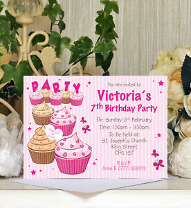 Personalised Cupcake Themed Party Birthday Invitations Kids Childrens