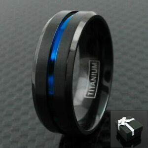 6/8mm Black Titanium Men's Thin Blue Line Brushed Wedding Band Ring