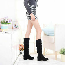 UK Womens Mid Calf Boots Slouch Pull On Hidden Wedge Casual Tassel Shoes Plus SZ