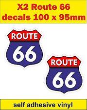 2 Adesivi Divertenti ROUTE 66 Decalcomanie Bisaccia Bici Auto Mini carrello SCOOTER VW Cassetta degli attrezzi