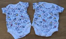 Tu Set Of 2 Baby Boy Vests White Blue Red & Yellow Robot Bodysuits Up to 1 Month
