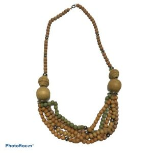 """Artisan crafted Boho ethnic style Brown wood multi strand bead Necklace 21"""" N2"""