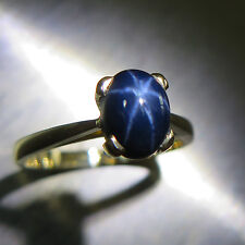 1.45cts Natural Blue Ray star Sapphire 9ct 375 Yellow gold engagement ring
