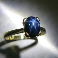 1.45cts Natural Blue Ray star Sapphire 9K 9ct 375 Yellow gold engagement ring