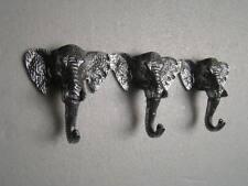 Metal Elephant Trunk Coat Hook Triple Figurine Hooks 12.5x4.5 inches