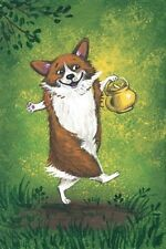 4X6 St Patricks Day Postcard Ryta Le 2/200 Pembroke Welsh Corgi Pot Of Gold Art