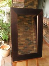 Decorative Wall Mirror Chunky Mocha Stained Wood Frame 90cm x 58cm