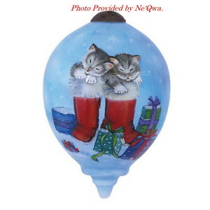 Ne'Qwa Kittens' Snow Day Glass Ornament ~ 7141132