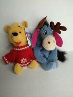"Disney Winnie the Pooh & Eeyore 8"" Plush Winter Sweater Beanbag Beanies Xmas"