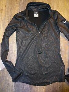 SMALL ~ athletic long sleeve 3/4 zip ~ NIKE PRO black alligator print XS