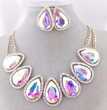 Gold With AB Acrylic Tear Rhinestones Bib Necklace Set Fashion Jewelry NEW